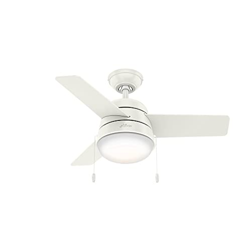 Hunter Indoor Ceiling Fan with LED Light and pull chain control – Aker 36 inch, White, 59301
