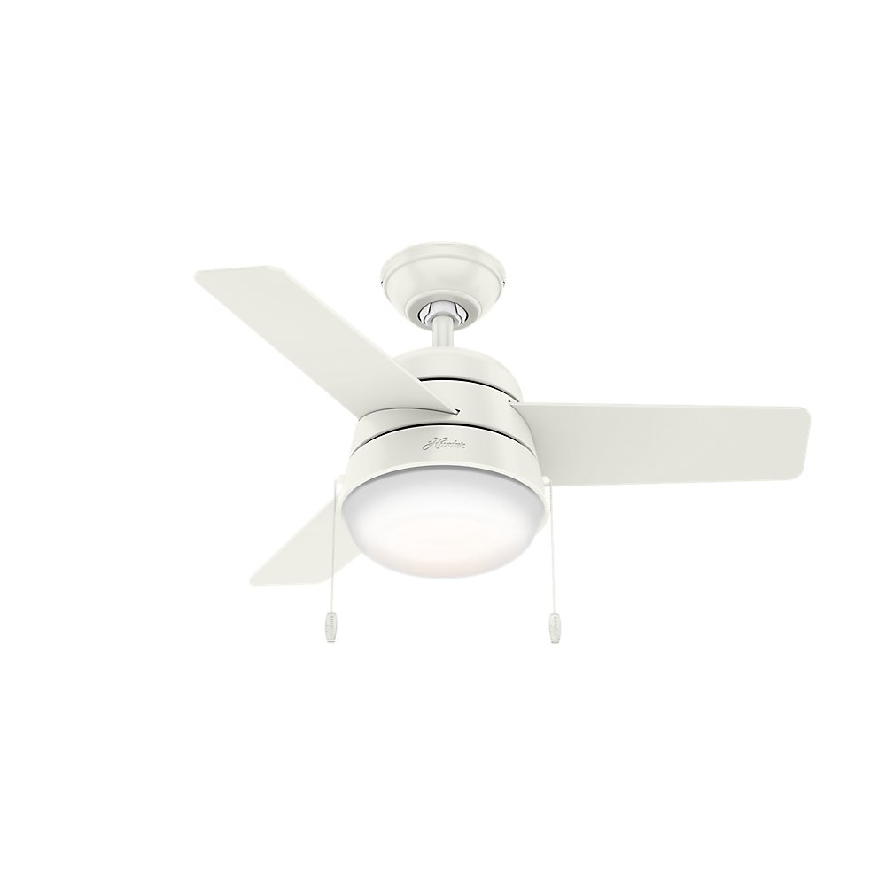 Hunter Fan Company 59301 Downrod Mount, 3 Fresh White Blades Ceiling fan with 76.83 watts light, Fresh White by Hunter Fan Company (Image #1)