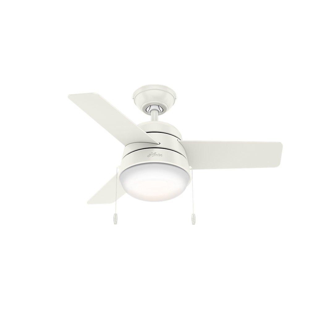 Hunter Fan Company 59301 Downrod Mount, 3 Fresh White Blades Ceiling fan with 76.83 watts light, Fresh White
