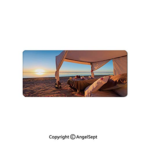 Large Mouse Pad with Nonslip Base, Thick, Comfy,Mat for Desktop, Laptop, Keyboard-Beach,Romantic Dinner Setting at Tropical Seashore at Sunset Celebrati,16