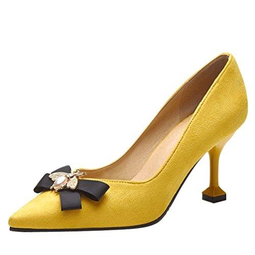 YE Damen Spitze High Heels Stiletto Pumps mit Schleife und 8cm Absatz Elegant Schuhe Gelb