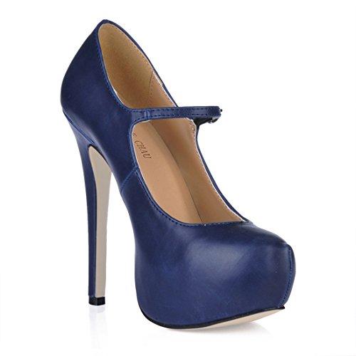 CHMILE Bout Coloris Talon Sexy Femmes Plusieurs Stiletto Haut Semelle Plateforme CHAU Compensée Escarpins Rond Bleu Fermé 3cm Fête Aiguille rt70wqnZrx