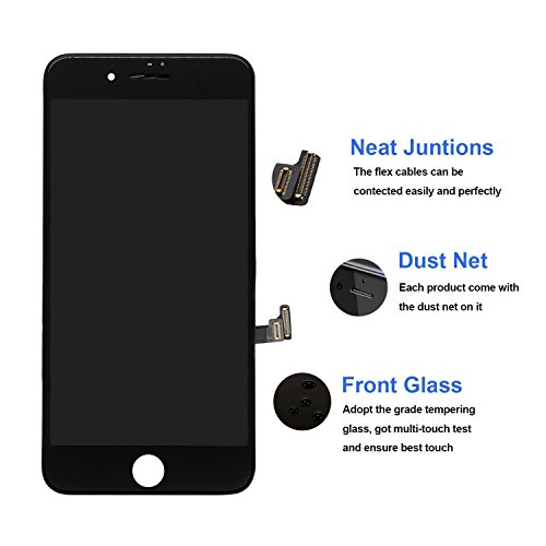 Replacement Screen for iPhone 7 Black LCD Display Touch Digitizer Screen Full Assembly with Repair Tool Kit and Screen Protector by i DIY (Image #1)