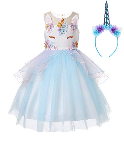R-Cloud Girls Flower Unicorn Costume Pageant Princess Halloween Dress Up Cosplay Birthday Party Dress (Blue, 150(10-11Y)) -