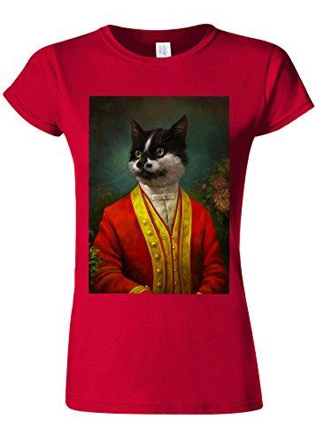 小康現実必須Victorian Gentleman Cat Kittem Meow Novelty Cherry Red Women T Shirt Top-L
