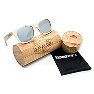 SAVAGE original bamboo wayfarer polarized sunglasses - handmade! (Natural Bamboo, Sliver Mirror Lens)