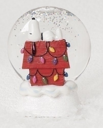 Peanuts Snoopy On Top Doghouse with Christmas Lights Light Up Glitterdisk
