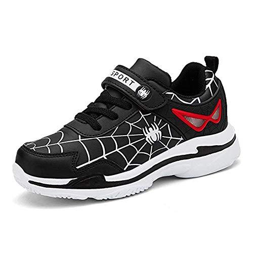 Yu Li Kids Boys Girls Cartoon Spiderman Waterproof Leather Sneakers Black 31]()