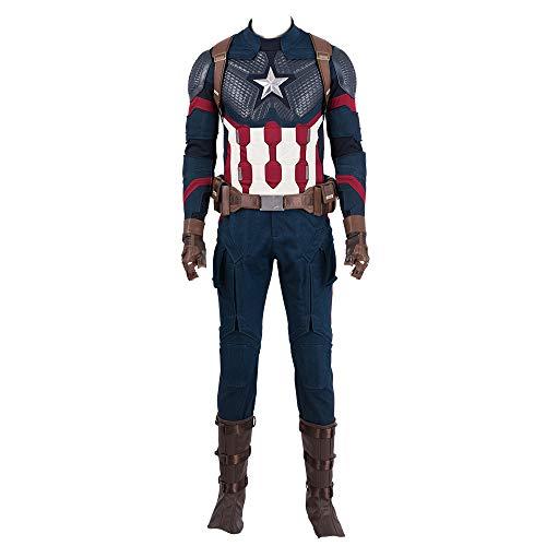 COMShow Captain America Costume Avengers 4 Endgame Superhero Halloween Costume for Men]()