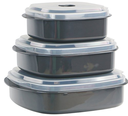 Reston Lloyd Microwave Cookware & Storage, Adjustable Vent on Lids Cookware Set, Multiple Sizes, Gray