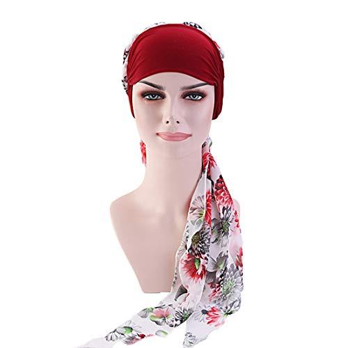 DuoZan Women's Chiffon Headscarf Wide Band Headwraps Chemo Turbans Hair Loss Cap -