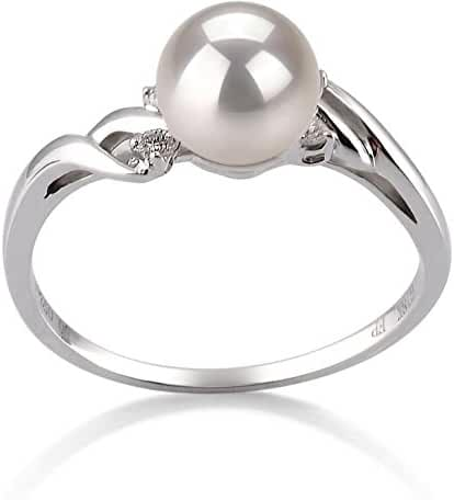 PearlsOnly - Andrea White 6-7mm Japanese Akoya 14K White Gold Cultured Pearl Ring