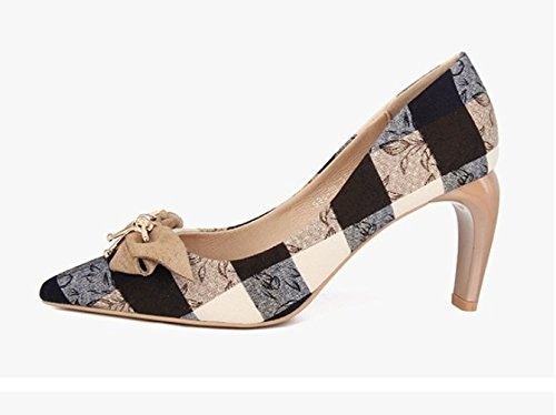 High Plaid Coarse Heels Single Party Leisure Spring Shoes Shoes 7Cm With Bow Shoes Point Work Elegant Khaki 36 Lady MDRW Ladies xFfqBp0wF