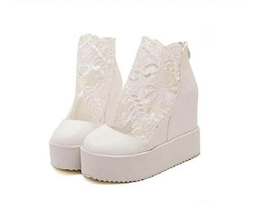 Respirant Femmes Taille Cool Onfly 34 Bottom Bottes Épais Chaussures 40 Chaussures 11 Masquer cm Ronde Wedge Mesh Chaussures Zipper Blanc Muffin Casual Martin Dress Talon Bottes Lace Toe Talon Eu Pompe pPpwEd