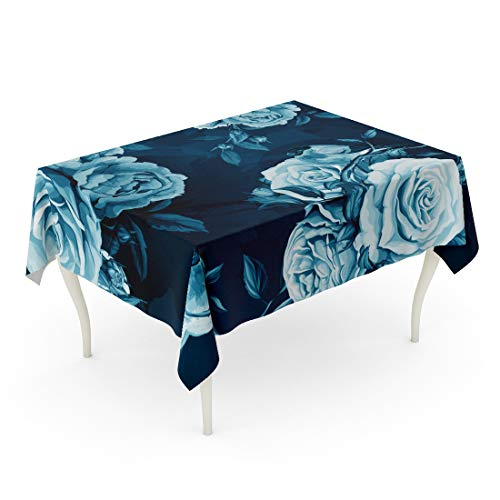 Semtomn Rectangle Tablecloth Blue Roses Peony Leaves and Bird on Dark Watercolor 60 x 102 Inch Home Decorative Waterproof Oil-Proof Printed Table Cloth]()