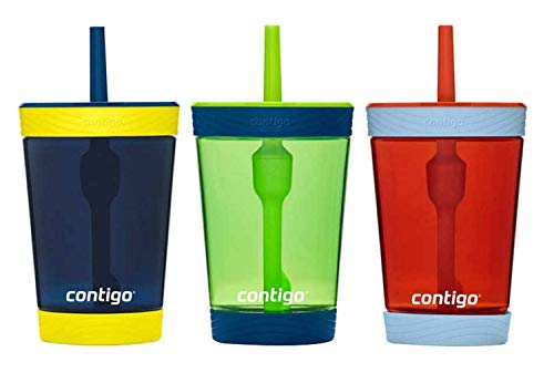 Contigo Kids 3 Pack Tumblers - Blue Green Red (Straw Sippy Cup Leak Proof)