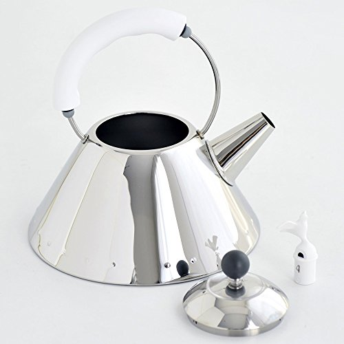 Alessi Kettle in 18/10 Stainless Steel Mirror Polished with Handle and Small Bird-Shaped Whistle in Pa, White by Alessi (Image #2)