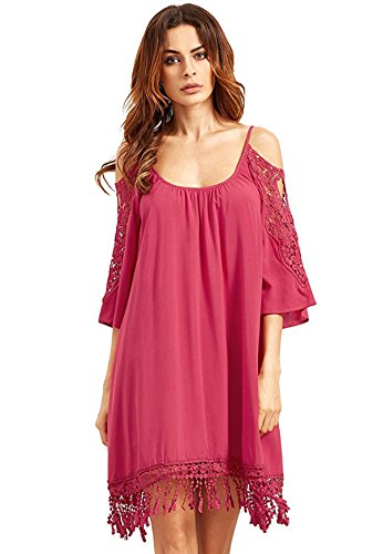 Lace Rose Summer Beach Sleeve Loose Women's Cold Milumia Dress Shoulder Crochet WRnxXHvBS