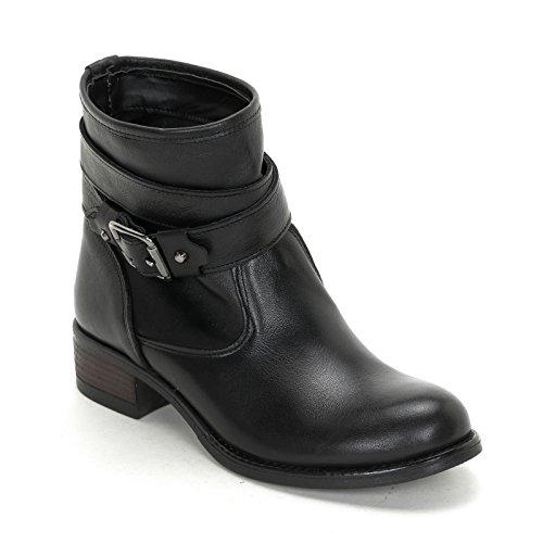 Alesya Scarpe&Scarpe - Flache Stiefeletten mit Doppeltem Riemchen, Leder - 39,0, Schwarz