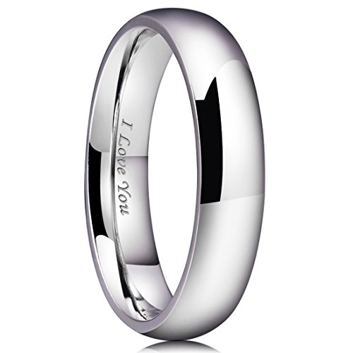 King Will 5mm Stainless Steel Ring Original Color Full High Polished with Laser Etched I Love You(8)