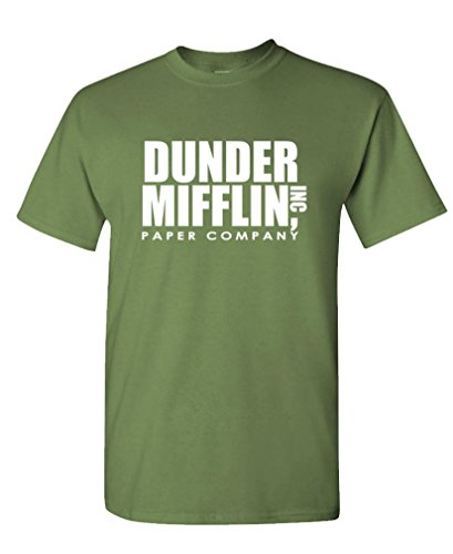 The Goozler - Dunder Mifflin - Office Paper Company - Mens Cotton T-Shirt, S, Military ()