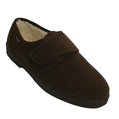 Chaussures en daim avec doublure en peau de mouton velcro très confortable Salemera en brun