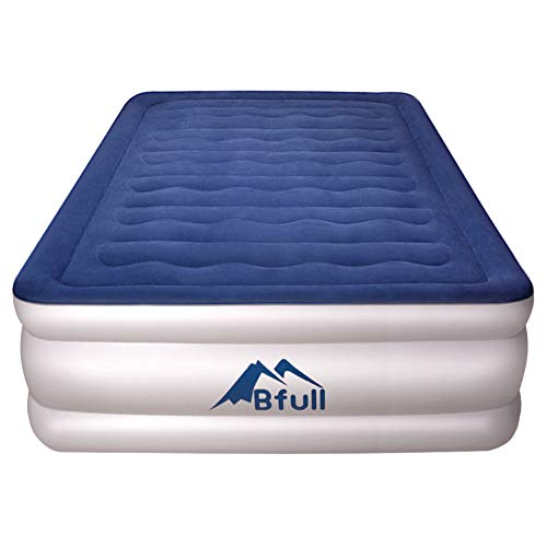 BFULL Air Mattress Thicken Inflatable No Leakage Airbed Portable Inflatable Mattress with Built-in Electric Pump,Durable,Easy to Store, Install,80 x 60 x 18 in,Air Mattress Queen Size,Blue