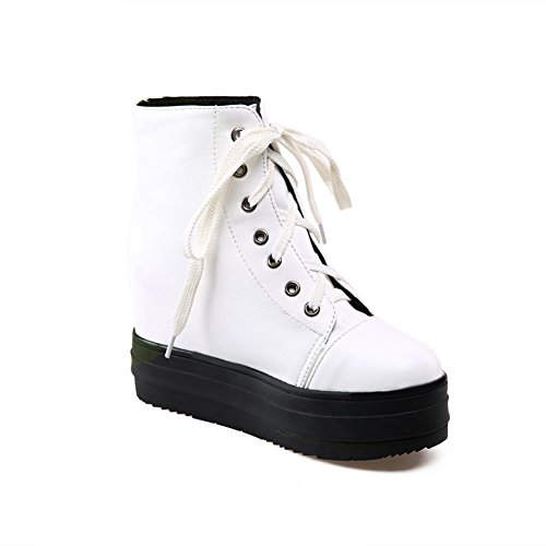 Muffin plataforma cuero Buttom Up BalaMasa Lace mujer americano botas blanco de para imitado HxWSA4