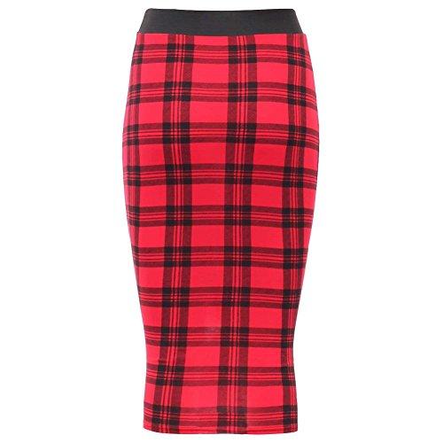 Janisramone Nouveau Femme Jupe Longue Taille Haute Moulante avec Bande Noir sur la Taille Tartan Rouge