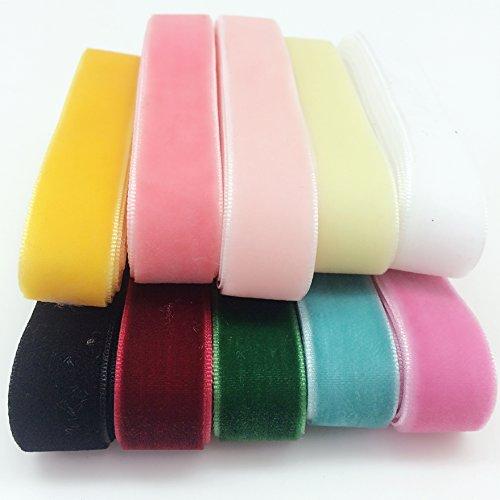 Velvet Ribbon Trim - PEPPERLONELY 10 Color Set (1 Yard Each) Single Face Velvet Ribbon, 16mm (5/8 Inch)