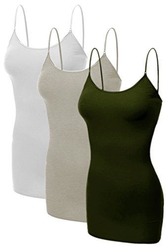 Top Cami Cotton - Emmalise Women's Basic Casual Long Camisole Adjustable Strap Cami Layering Top, Small, 3Pk White, Oatmeal, Olive