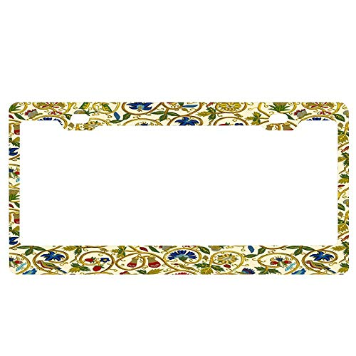 ASUIframeNJK Elizabethan Swirl Embroideries Print Personalized Novelty License Plate Decorative Vanity Front Car Tag