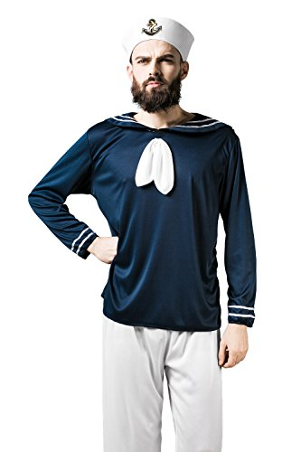Adult Men Sailor Halloween Costume Navy Mariner Seaman Dress Up & Role Play ( Standard+, blue, white, (Sailor Outfit Men)