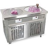 "Kolice Commercial ETL Certificate 55cm 22"" Double Round Pans Fried ice Cream roll Machine,Fry ice Cream Machine,auto…"