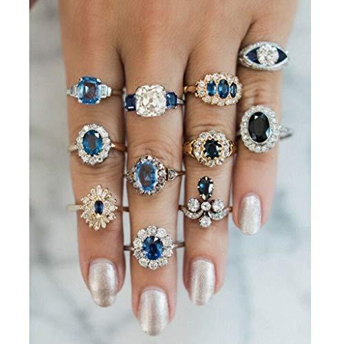 Peigen Various Types Knuckle Ring Set for Women and Men Elegant Temperament Blue Gemstones Flower Knuckles Ladies Jewelry 11PC ()