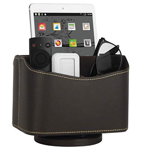 Spinning Remote Caddy, Media Storage Organizer, Remote Control Holder Organizer, Remote Caddy, Brown PU Leather, 7.3X 5.5 x 6 -