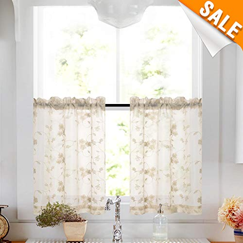 Lazzzy Greyish Beige Window Room Darkening Tier Sheer Curtains - Floral Embroidery Semi Curtains Rod Pocket Window Treatment Curtains/Drapes (2 Panels, 26W by 45L ()