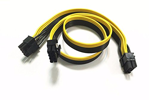 PCIE 8 Pin male to Dual 8 Pin (6+2) male PCI Express Power Adapter Cable Modular Power Supply Cable for Graphics Video Card 8 pin splitter 24+8inches TeamProfitcom