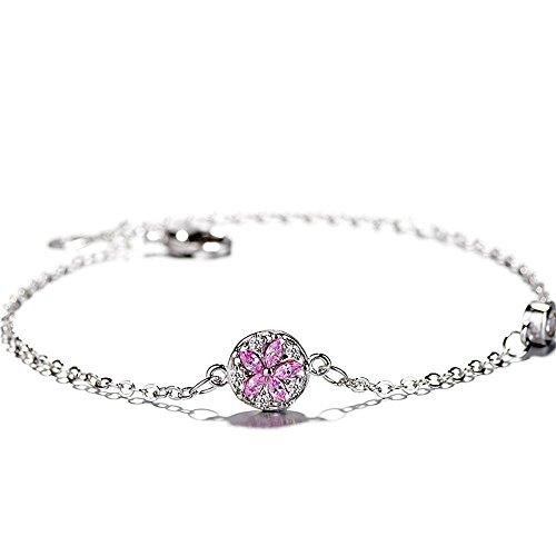 Sweet Diamonds Bracelet (Kaxima Adjustable Sterling Silver Bangle Bracelet, Diamond pink cherry bracelet, simple sweet temperament hand jewelry, female hundred-lap bracelet)