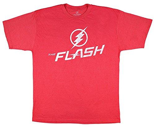 - DC Comics The Flash Distressed Logo Men's Big and Tall T-Shirt (Red Heather, 3XLB)