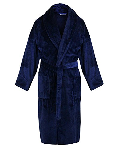 BC BARE COTTON 100% Turkish Cotton Men Terry Velour Shawl Robe, One Size, Royal Blue