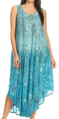 - Sakkas 17114 - Priscilla Sleeveless Stonewashed Ombre Tie Front Dress/Cover Up - Turquoise - OS