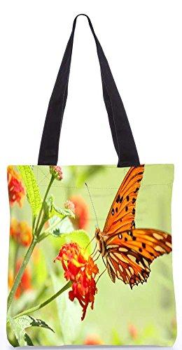 """Snoogg Orange Schmetterling Tragetasche 13,5 X 15 In """"Shopping-Dienstprogramm Tragetasche Aus Polyester Canvas"""