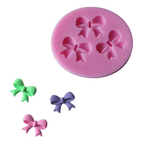 Witkey Feather Flower and Leave Series Plume Shape Silicone Decorating Craft Mold for Cake Cupcake Fondant Chocolate Jello Candy Biscuit and Soap Mold (Lovely Bow C038)