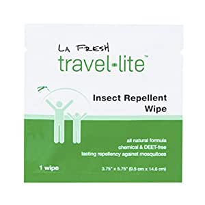La Fresh Mosquito Repellent Wipes, Individually Wrapped – Natural, Deet Free, Non Toxic, Long Lasting Repellent Protects Against Almost All Bugs (50 Packets)