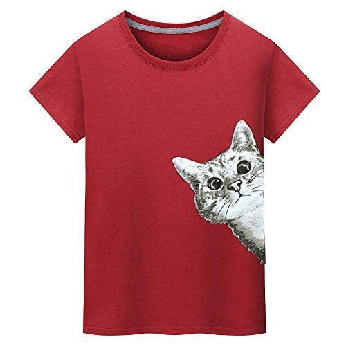 - Sunhusing Men's Fashion Cute Kitten Cat Print T-Shirt Solid Color Short Sleeve Shirt Tees Tops