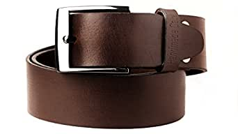 Handmadecart Men's Authentic Leather Belt with Heavy Metal Buckle (32, Brown)