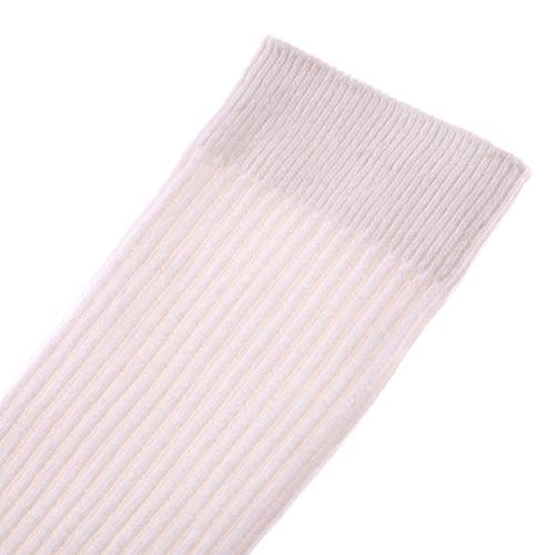 HERHILLY 3 Pack School Uniform Socks - Classic Stripe Cotton Over Knee-high Socks for Big Girls 3-12 Year old (9-12 Year Old, 3 Pack White) by HERHILLY (Image #4)