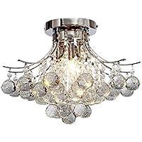 TomDa Crystal Chandeliers, Modern Pendant Flush Mount Ceiling Light Fixtures, 4 Lights, Contemporary Elegant Design Style Suitable for Hallway, Living Room, Dining Room