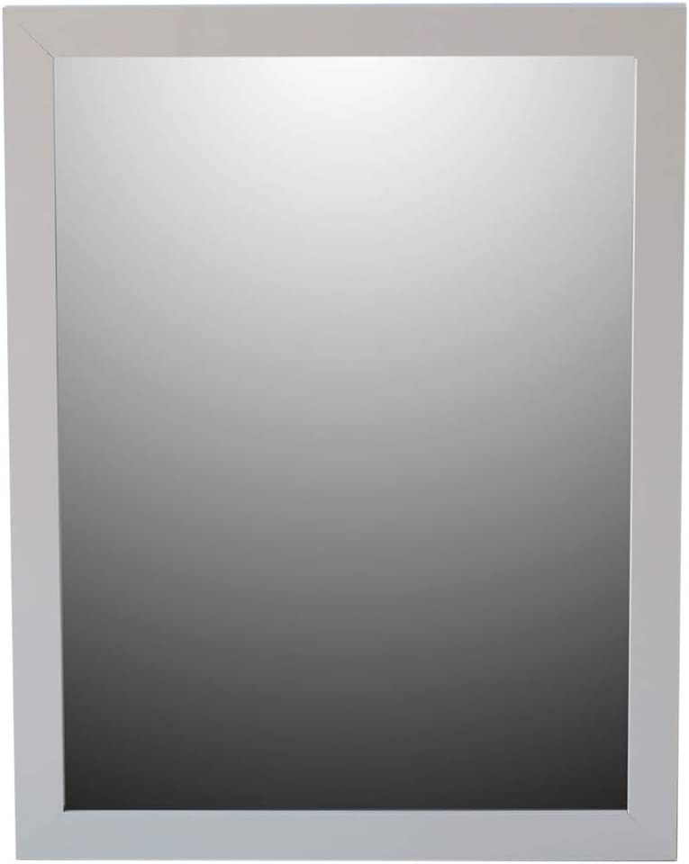 "Home Basics Framed Painted MDF 18"" x 24"" Wall Mirror (1, Grey)"